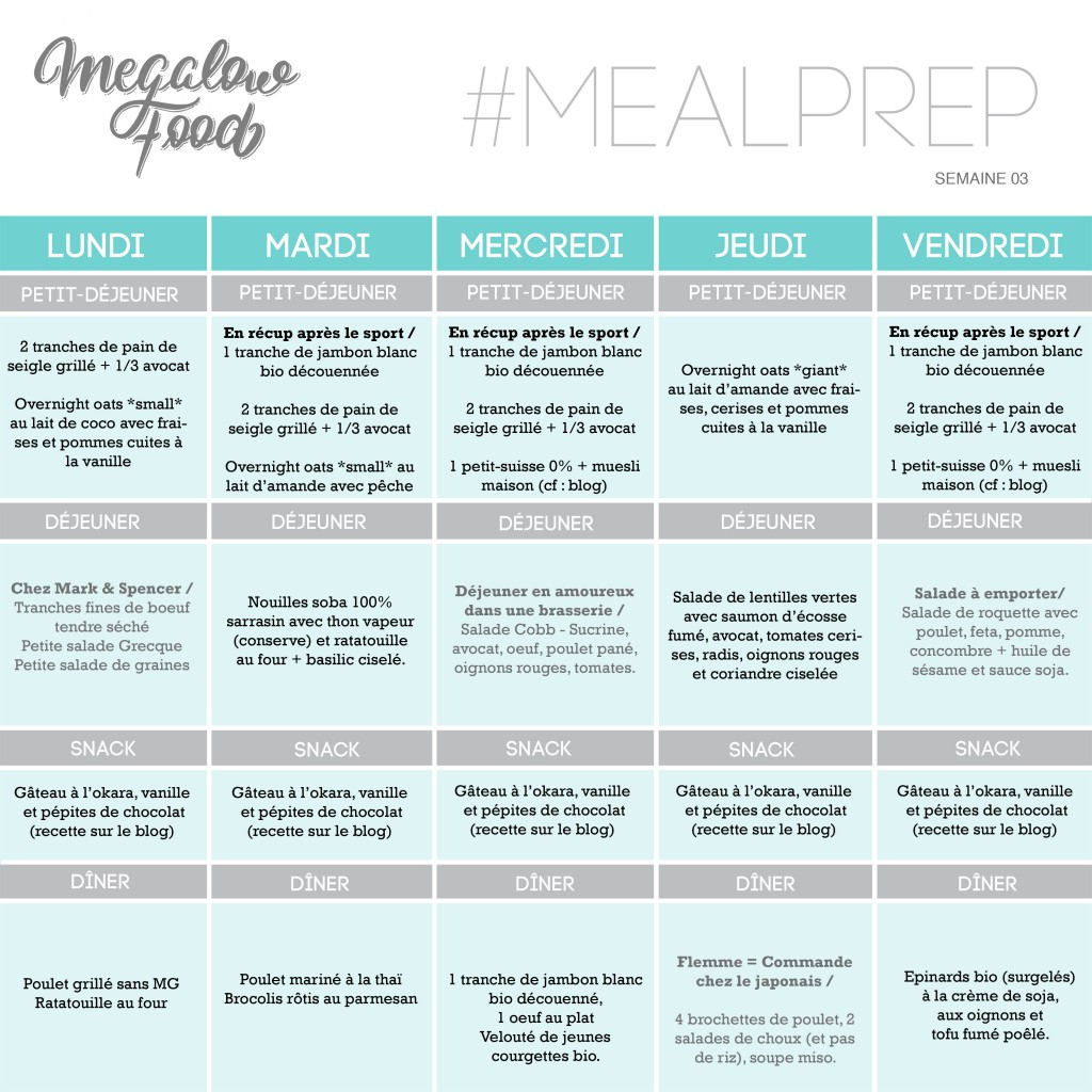 MEAL PLAN MEGALOWFOOD pour FB sem03